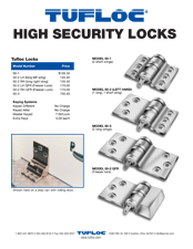 High Security Lock Retail Price List